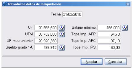 Datos Liquidación DL 889
